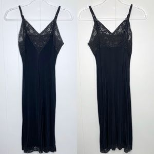 Vintage Vanity Fair Black Lace Midi Slip Dress 36